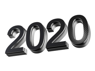 2020 new year steel and carbon extruded numbers isolated on white background
