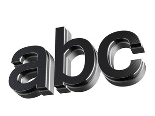 ABC steel and carbon extruded letters isolated on white background