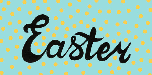 Easter calligraphy hand drawn cake and eggs spring April