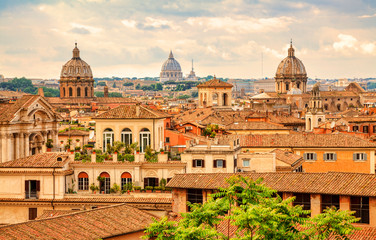 Aerial panoramic cityscape of Rome, Italy. Rome architecture and landmark.