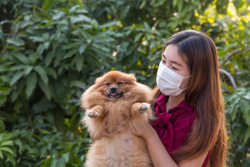 Young girl wear protection medical mask and holding brown pomeranian dog in the garden prevent dog allergies, Health care with pet and natural