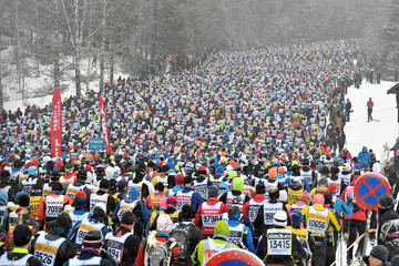 The start of the long distance cross country ski competition Vasaloppet in Salen