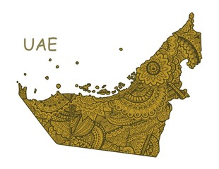 Textured vector map of UAE. Hand drawn ethno pattern, tribal background.