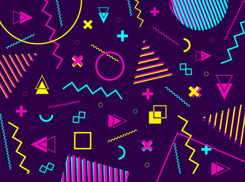 Abstract geometric pattern with geometric shapes. 80s retro  futurism style. Vector illustration background.