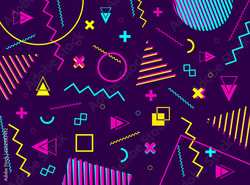 Abstract geometric pattern with geometric shapes  80s retro