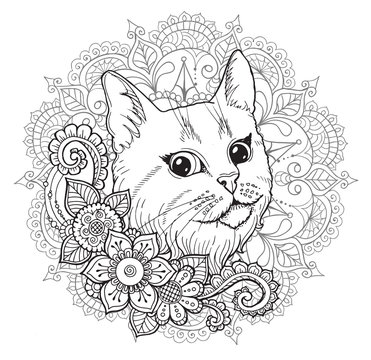the cat and the mandala. coloring book.