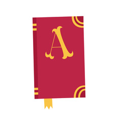 Vector book Icon. Notebook with letter A.
