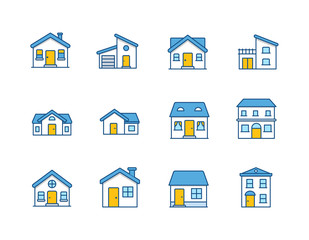 House Vector / Home flat icon / Building houses - Vector outline icon set