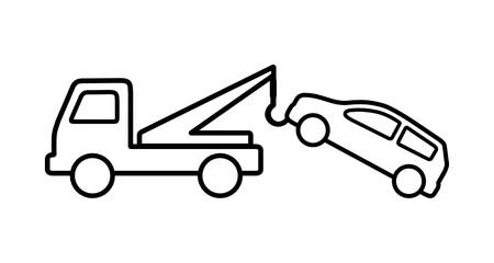 Obraz samochód auto pomoc - holowanie samochodu - fototapety do salonu