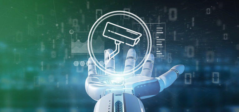Cyborg holding Security camera system icon and statistics data - 3d rendering