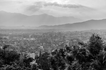 Kathmandu city view from Swayambhunath stupa on sunset, Nepal.
