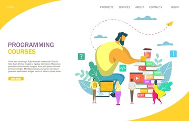 Programming courses vector website landing page design template