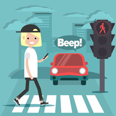 Young character crossing the street on red light.Nomophobia.honking car.flat cartoon illustration.clip art