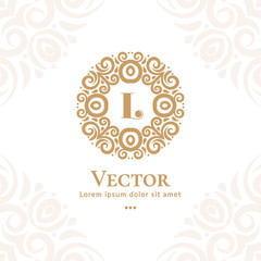 Golden vector emblem. Elegant, classic vector. Can be used for jewelry, beauty and fashion industry. Great for logo, monogram, invitation, flyer, menu, brochure, background, or any desired idea.
