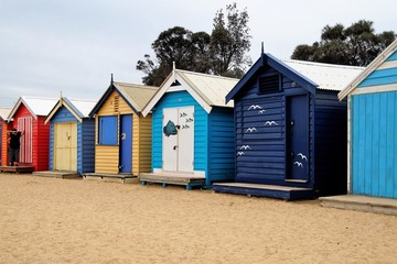 row of beach huts in south Australia