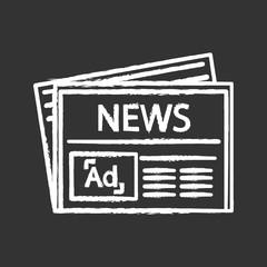 Newspaper advertising chalk icon