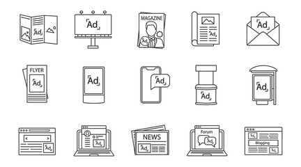 Advertising channels linear icons set
