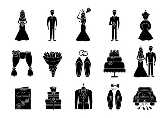 Wedding planning glyph icons set