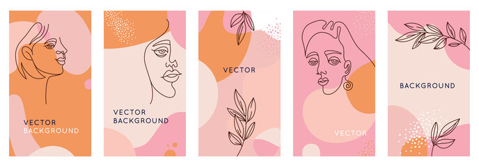 Vector set of abstract creative backgrounds in minimal trendy style with women face portrait in one line with copy space for text - design templates for social media stories and bloggers - simple, sty