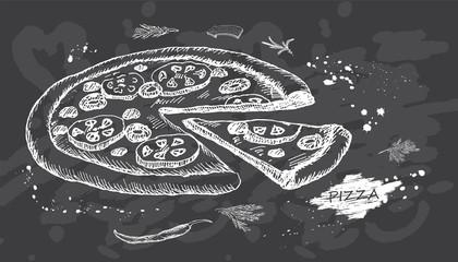 Best hot Pizza on chalk board background. Vector illustration.