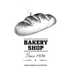 Bread loaf sketch drawing. Hand drawn sketch style bakery shop product. Fresh morning baked food vector illustration for menu design, labels and packaging. Isolated on white background.