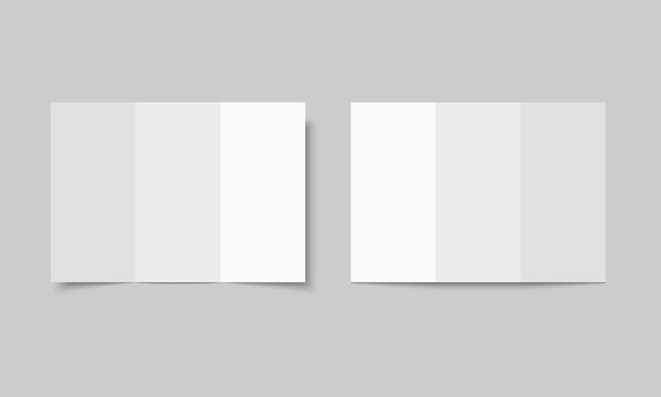 Blank white tri folded brochure mockup. Open booklet isolated