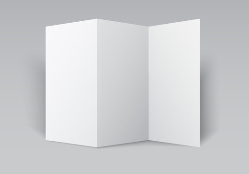 Blank white tri folded brochure mockup. Open booklet isolated.