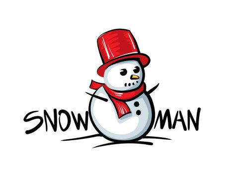 Snowman logo. Vector illustration on white background