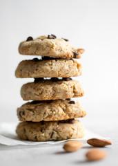 stack of gluten free vegan chocolate chip cookies