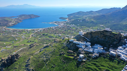 Aerial drone photo of picturesque main village or hora of Serifos island with breathtaking view to the Aegean sea in spring, Cyclades islands, Greece