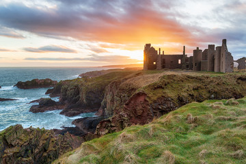 Wall Mural - Slains Castle at Sunset