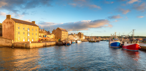 Wall Mural - Evening light at Burghead harbour near Elgin on the east coast of Scotland