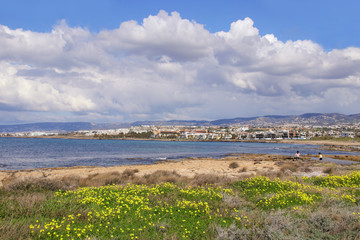 View to Paphos in spring, Coast Line, Cyprus