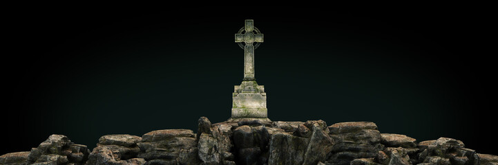 gravestone at sunset. 3d rendering