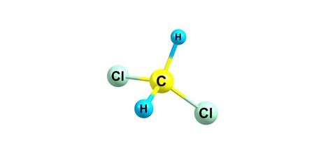 Dichloromethane molecular structure isolated on white