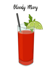Bloody Mary cocktail, with lime decorations, parsley and straw. For cafe and restaurant menu, packaging and advertisement. Hand drawn. Isolated image. Vector illustration.