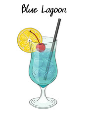 Blue lagoon cocktail, with lemon decorations, cherry and straw. For cafe and restaurant menu, packaging and advertisement. Hand drawn. Isolated image. Vector illustration.