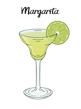 Margarita cocktail, with lime decorations. For cafe and restaurant menu, packaging and advertisement. Hand drawn. Isolated image. Vector illustration.