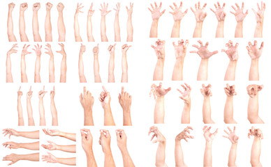 SUPER SET of Multiple Male Caucasian hand gestures isolated over the white background, set of multiple images.
