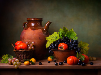 Still life with persimmons and grapes