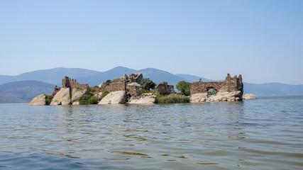 Lake of Bafa and  old castle ruins