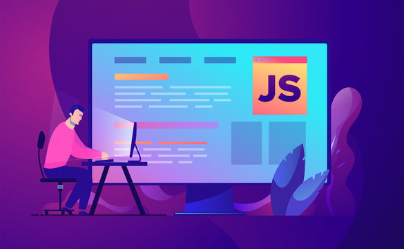 Vector business concept illustration Web development and coding