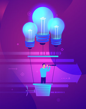 Vector business concept illustration of Businessman holding the right course.