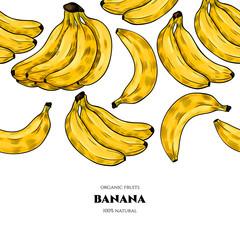 Vector frame with  banana . Hand drawn. Vintage style