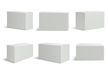 White boxes templates. Blank medical box 3d isolated paper packaging. Rectangle carton package vector mockup set