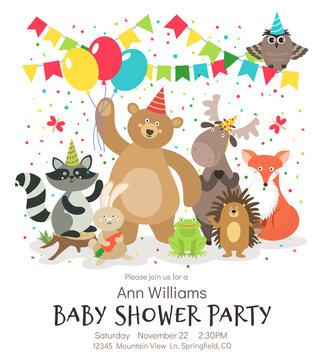 Happy birthday animals poster. Woodland forest animal baby shower kids invitation vintage vector card designs