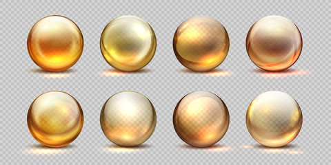 Obraz Collagen golden balls. Realistic cosmetic oil, liquid serum drop, transparent isolated 3D pills. Vector yellow collagen drops set - fototapety do salonu