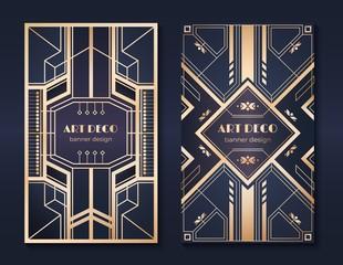 Art deco banners. 1920s party invitation flyer, fancy golden ornamental design, vintage frames and patterns. Art deco flyers set