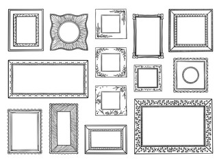 Hand drawn frames. Doodle square and circle boarders, vintage decorative sketch shapes. Vector doodle ornamental boarders set
