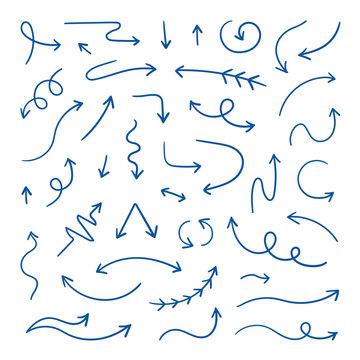 Doodle arrows. Linear hand drawn direction arrows, pen sketch design elements. Wavy loop line arrows. Vector doodle design elements set